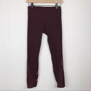 Lululemon Mesh Crop Leggings Zip Pocket Mid Rise